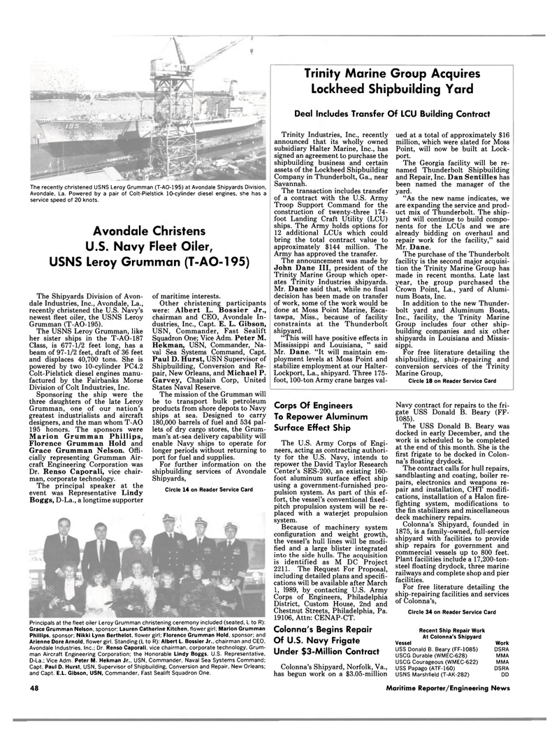 Maritime Reporter Magazine, page 46,  Feb 1989 Philadelphia District