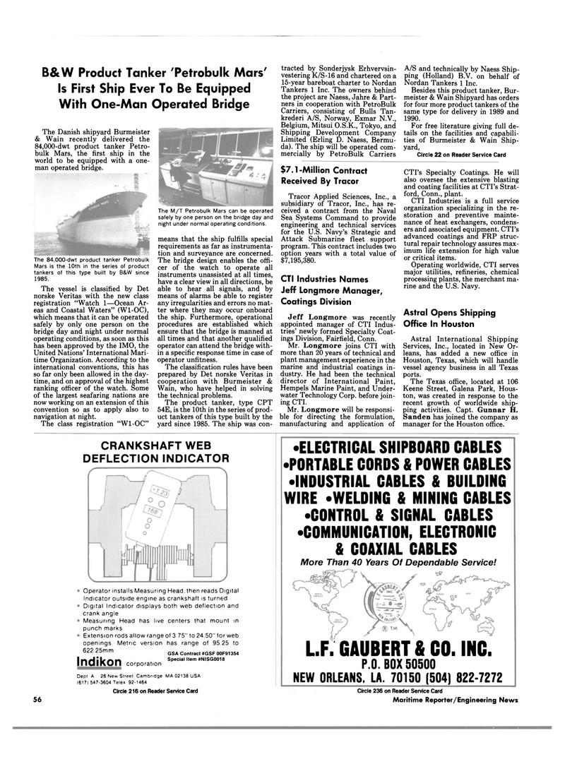 Maritime Reporter Magazine, page 54,  Feb 1989 S-16