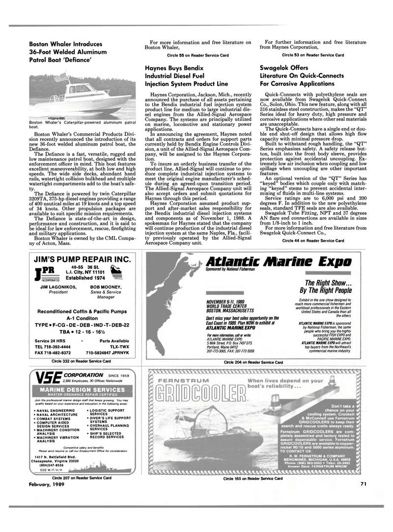 Maritime Reporter Magazine, page 67,  Feb 1989 Virginia
