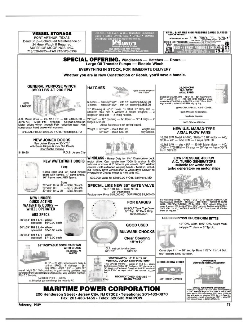 Maritime Reporter Magazine, page 69,  Feb 1989 Pennsylvania