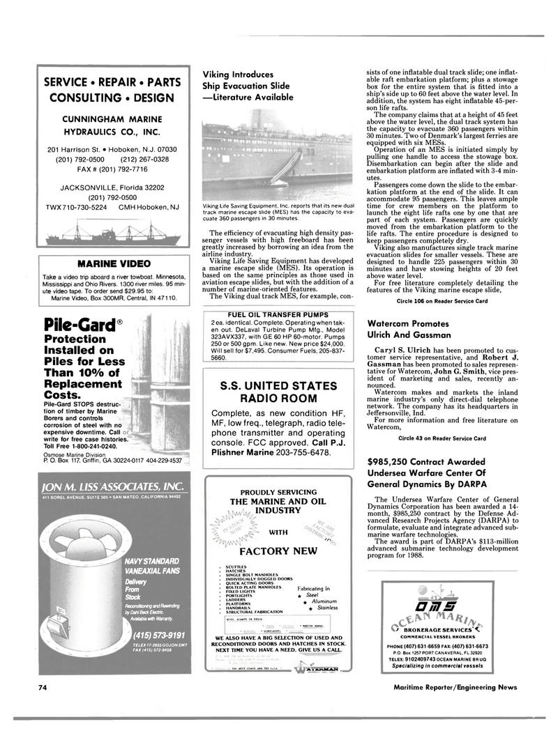 Maritime Reporter Magazine, page 70,  Feb 1989