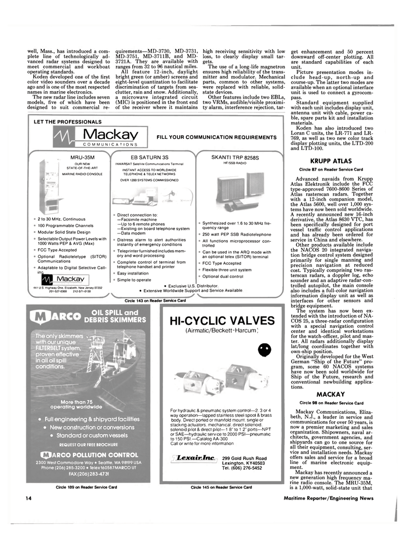 Maritime Reporter Magazine, page 14,  Mar 1989 Pollution Control