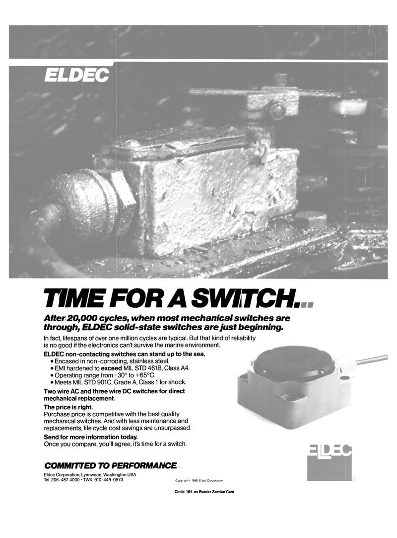 Maritime Reporter Magazine, page 2nd Cover,  Mar 1989 Eldec Corporation