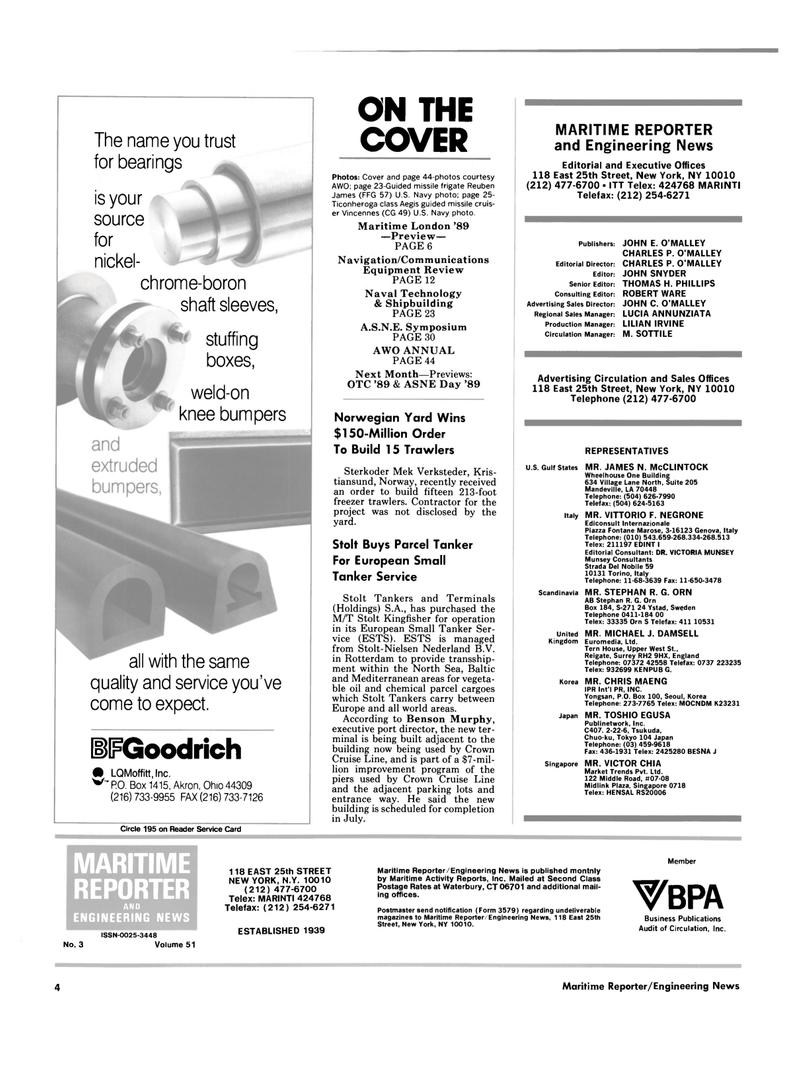 Maritime Reporter Magazine, page 2,  Mar 1989 Connecticut