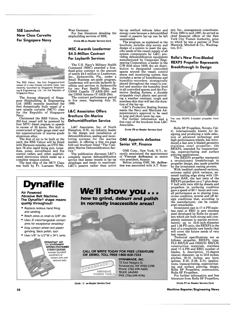 Maritime Reporter Magazine, page 38,  Mar 1989 New York