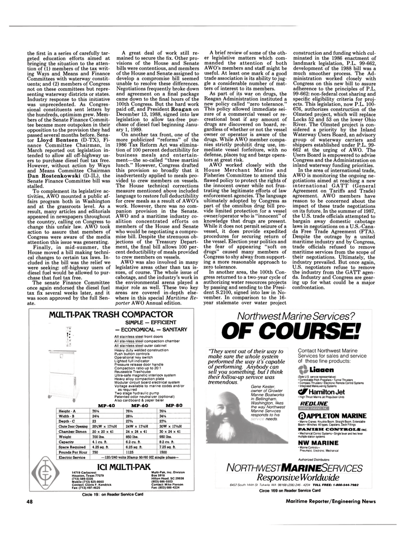 Maritime Reporter Magazine, page 48,  Mar 1989