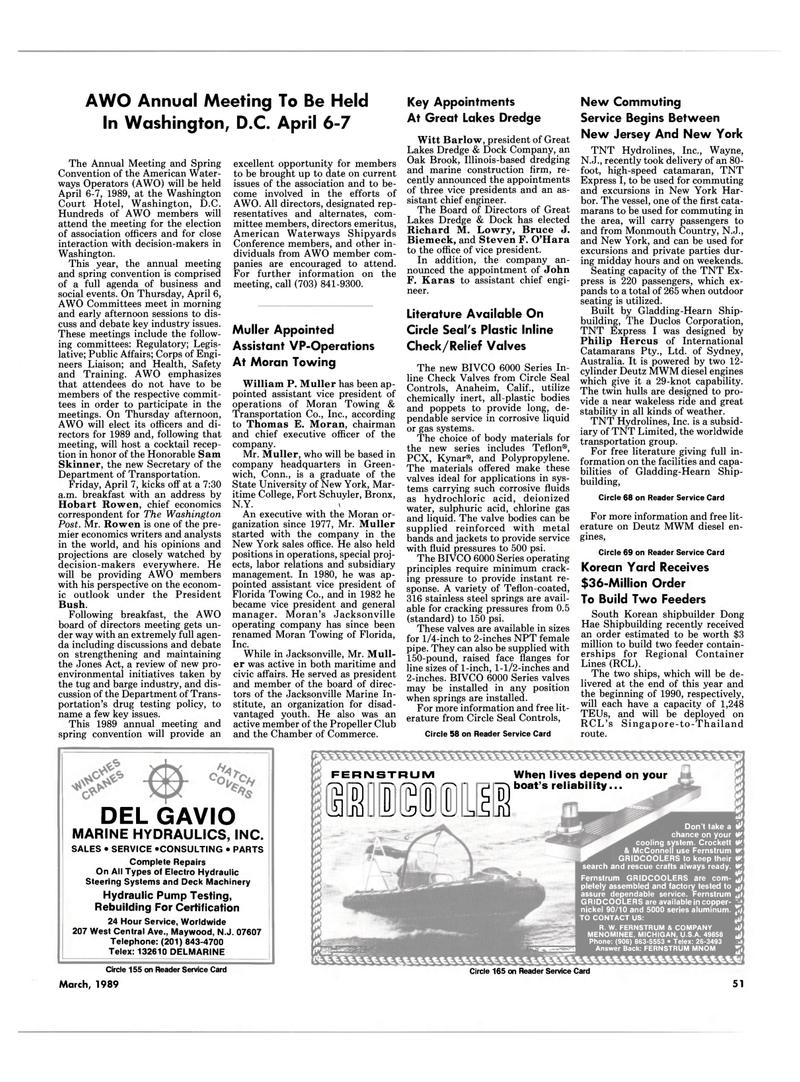 Maritime Reporter Magazine, page 51,  Mar 1989 Connecticut