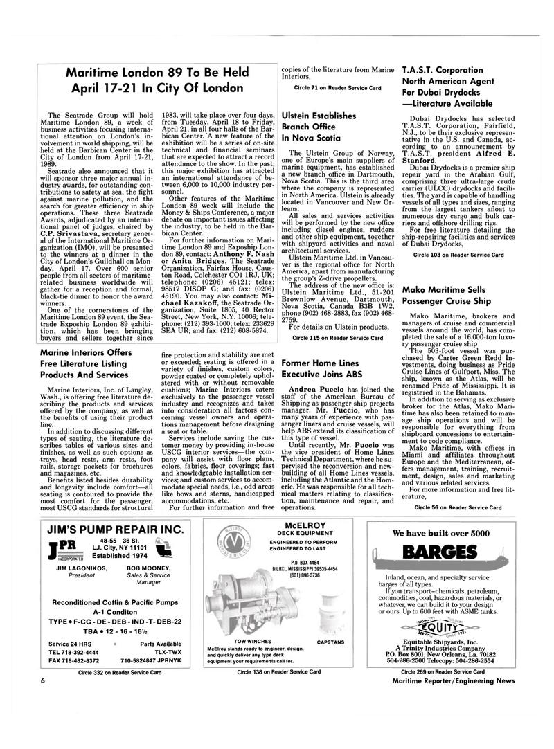 Maritime Reporter Magazine, page 4,  Mar 1989 Nova Scotia