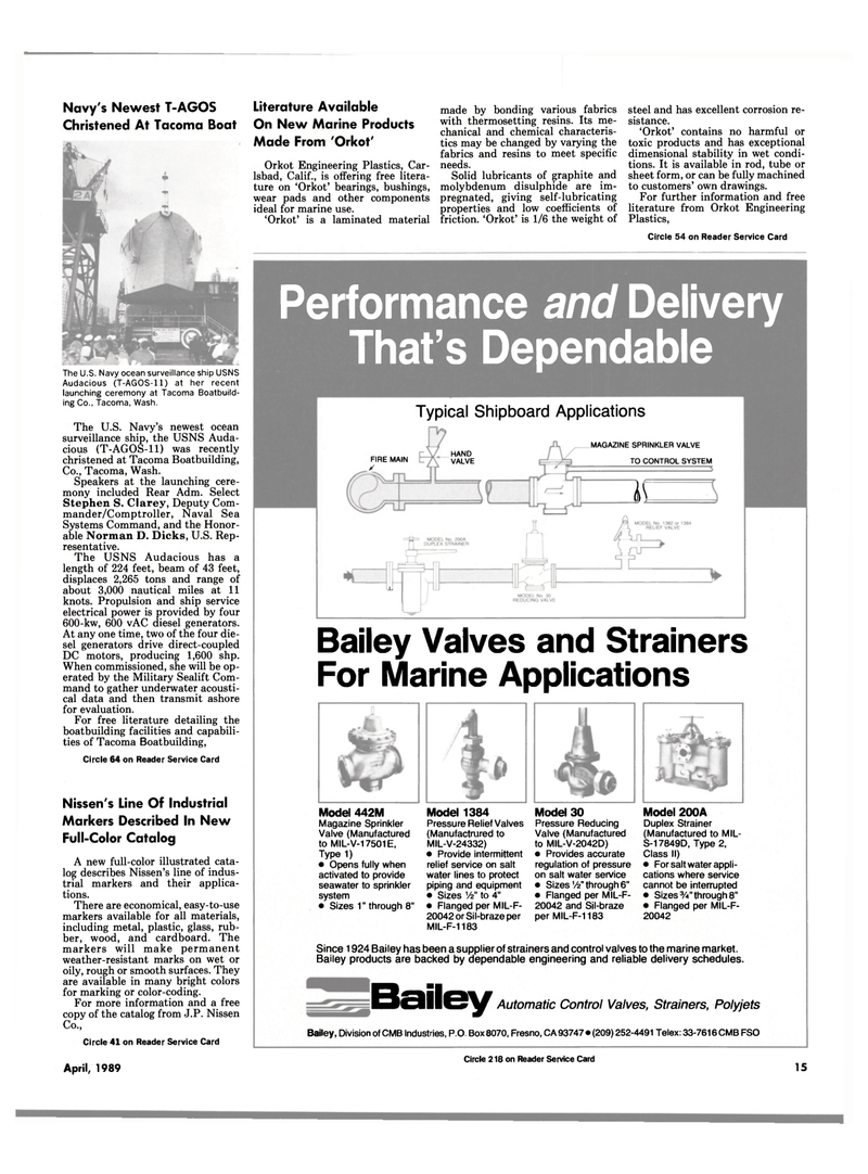 Maritime Reporter Magazine, page 13,  Apr 1989 S-17849D