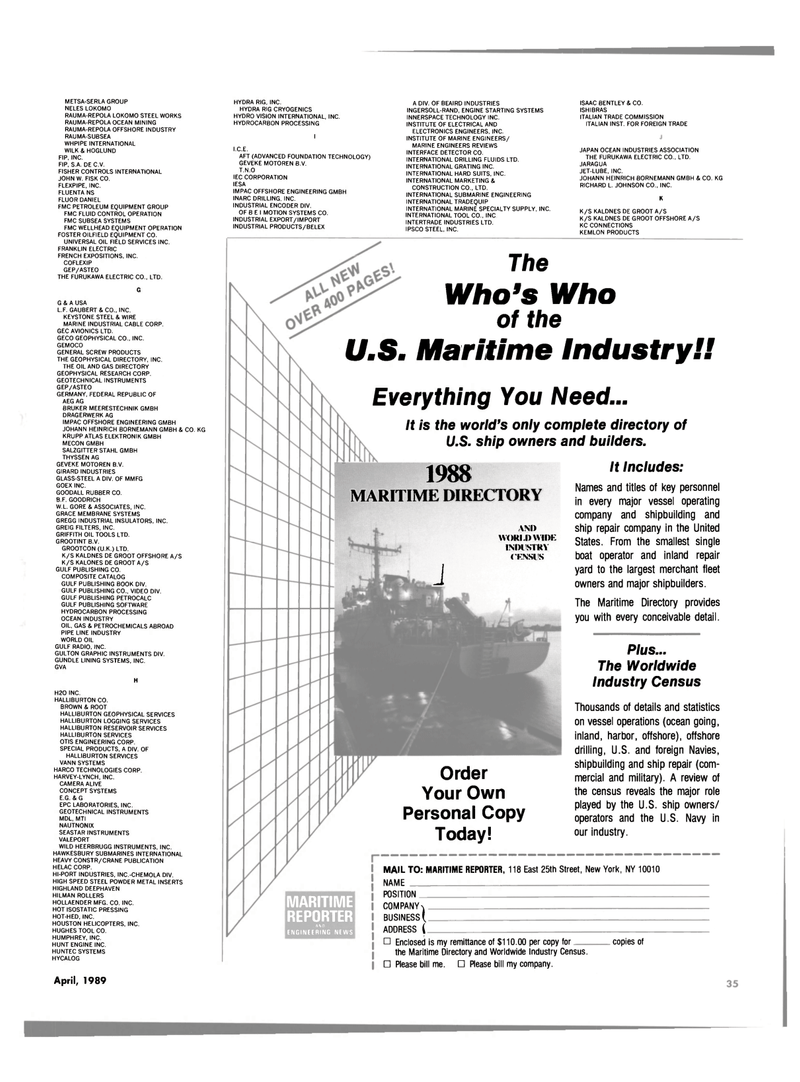 Maritime Reporter Magazine, page 29,  Apr 1989 HALLIBURTON SERVICES VANN SYSTEMS HARCO TECHNOLOGIES