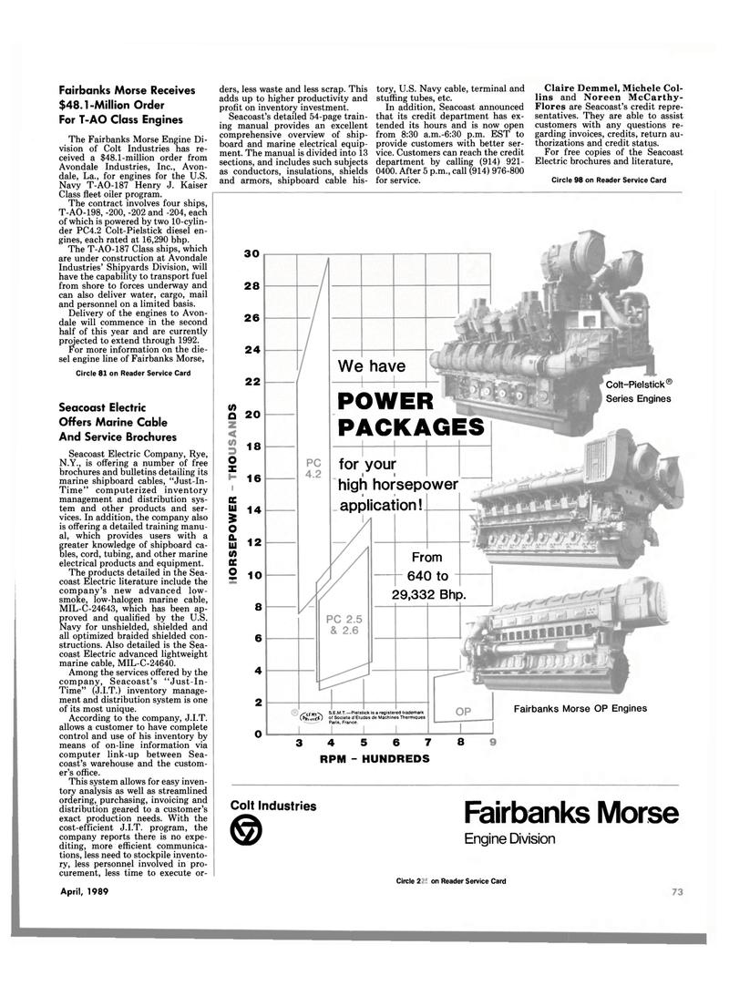 Maritime Reporter Magazine, page 71,  Apr 1989 Michele Col