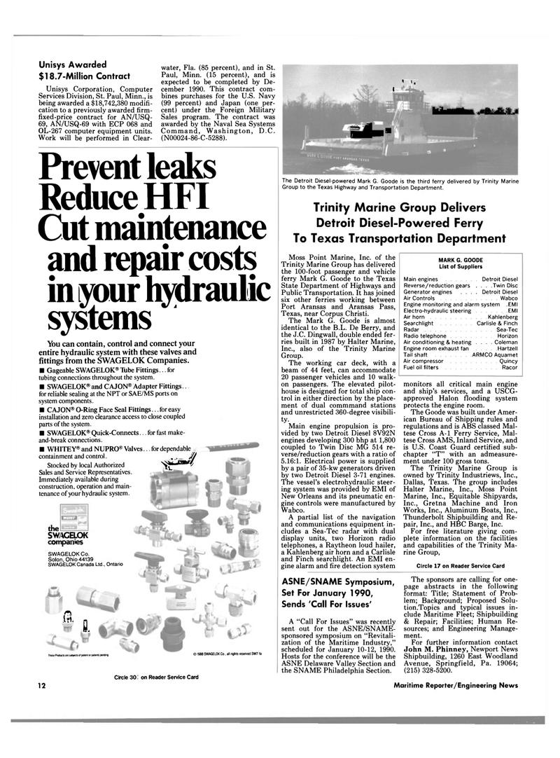 Maritime Reporter Magazine, page 8,  Jun 1989