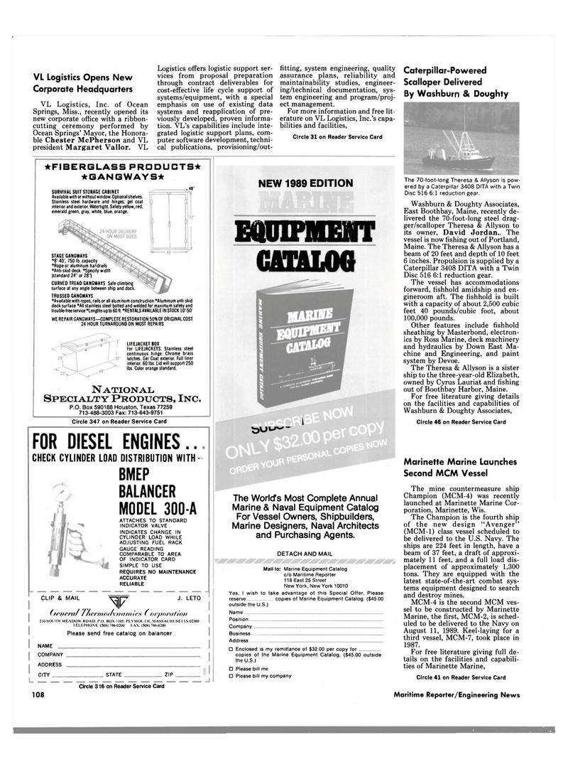 Maritime Reporter Magazine, page 102,  Jun 1989
