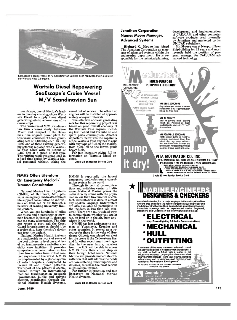 Maritime Reporter Magazine, page 107,  Jun 1989
