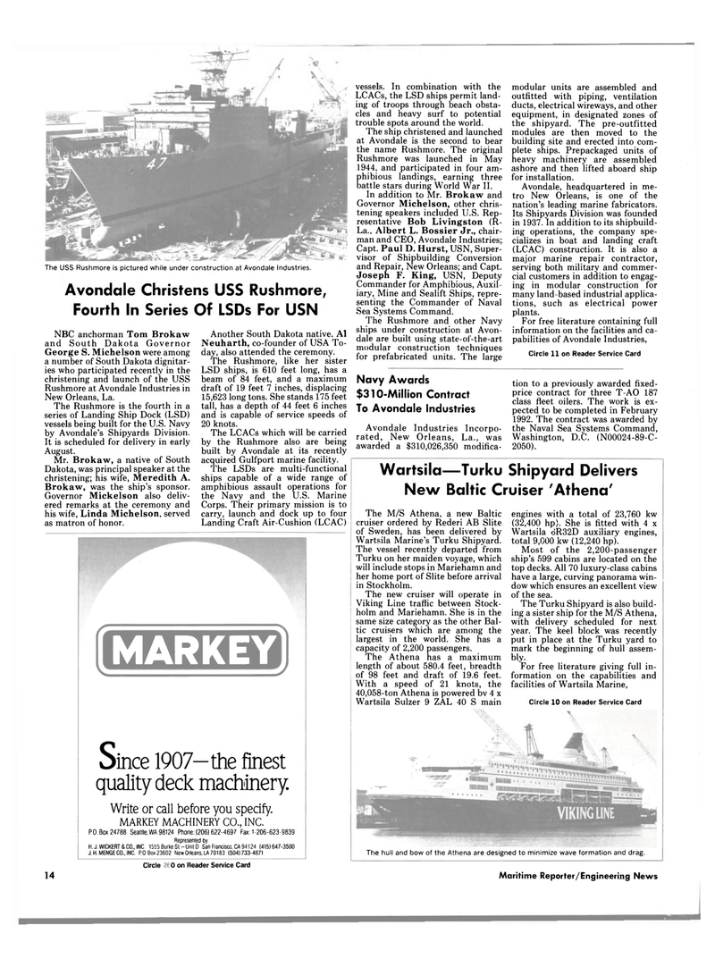Maritime Reporter Magazine, page 10,  Jun 1989