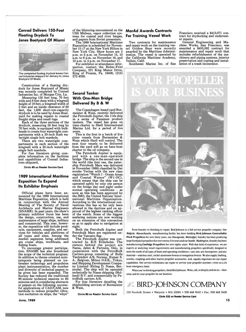 Maritime Reporter Magazine, page 11,  Jun 1989