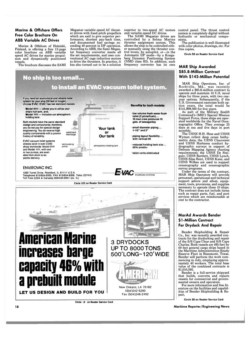 Maritime Reporter Magazine, page 14,  Jun 1989