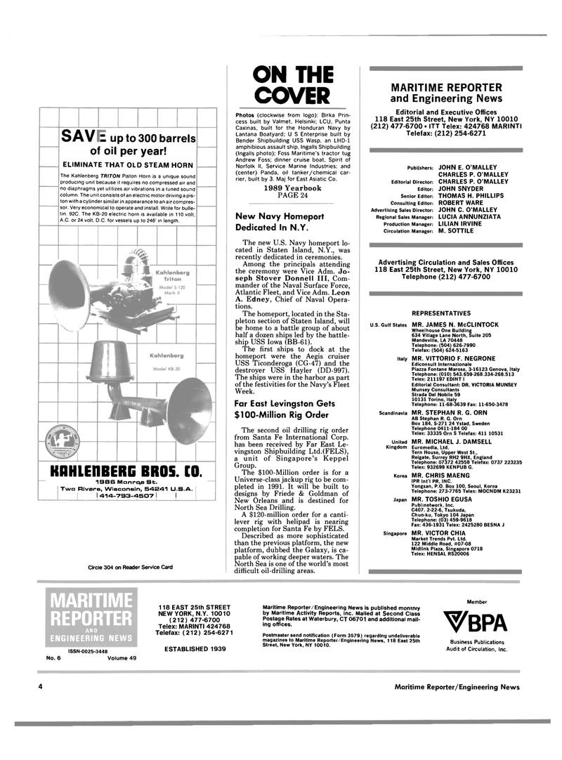Maritime Reporter Magazine, page 2,  Jun 1989