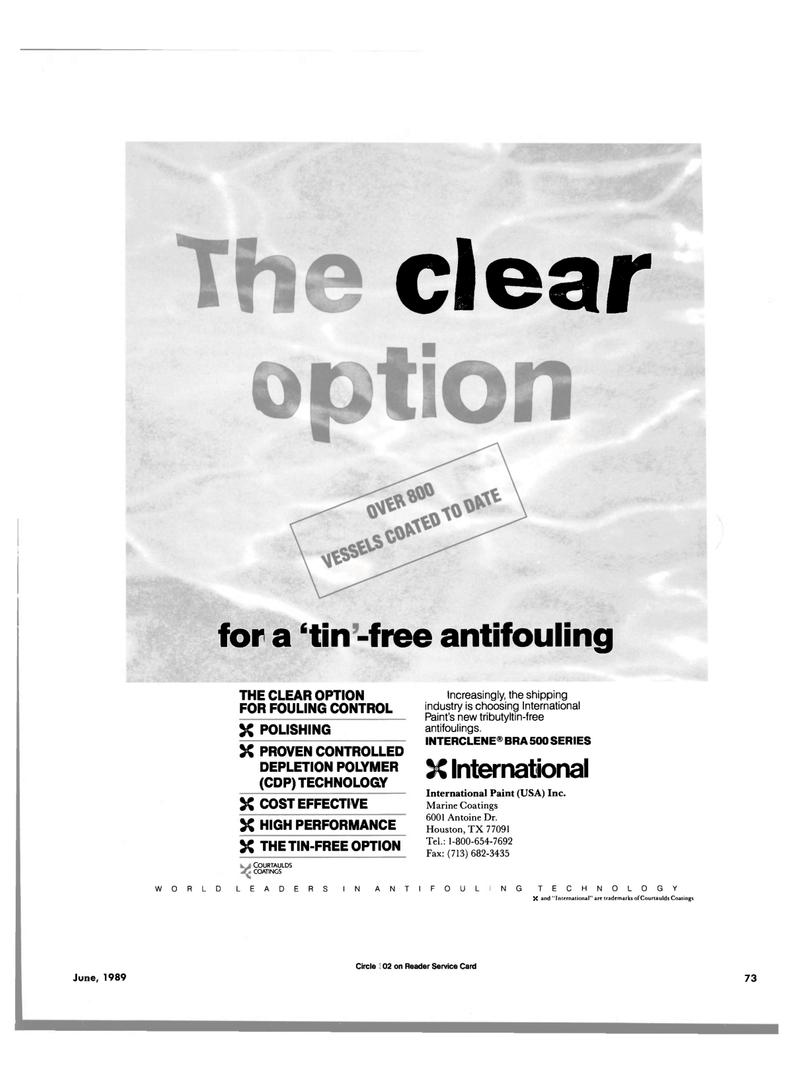Maritime Reporter Magazine, page 69,  Jun 1989