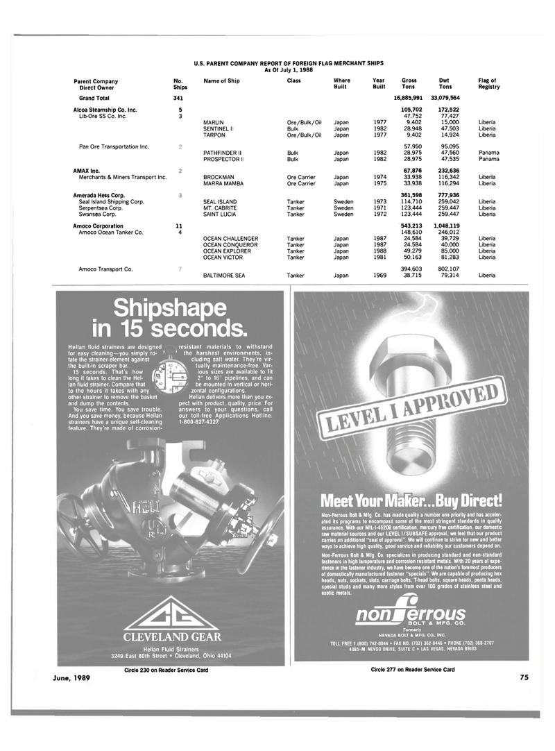 Maritime Reporter Magazine, page 71,  Jun 1989