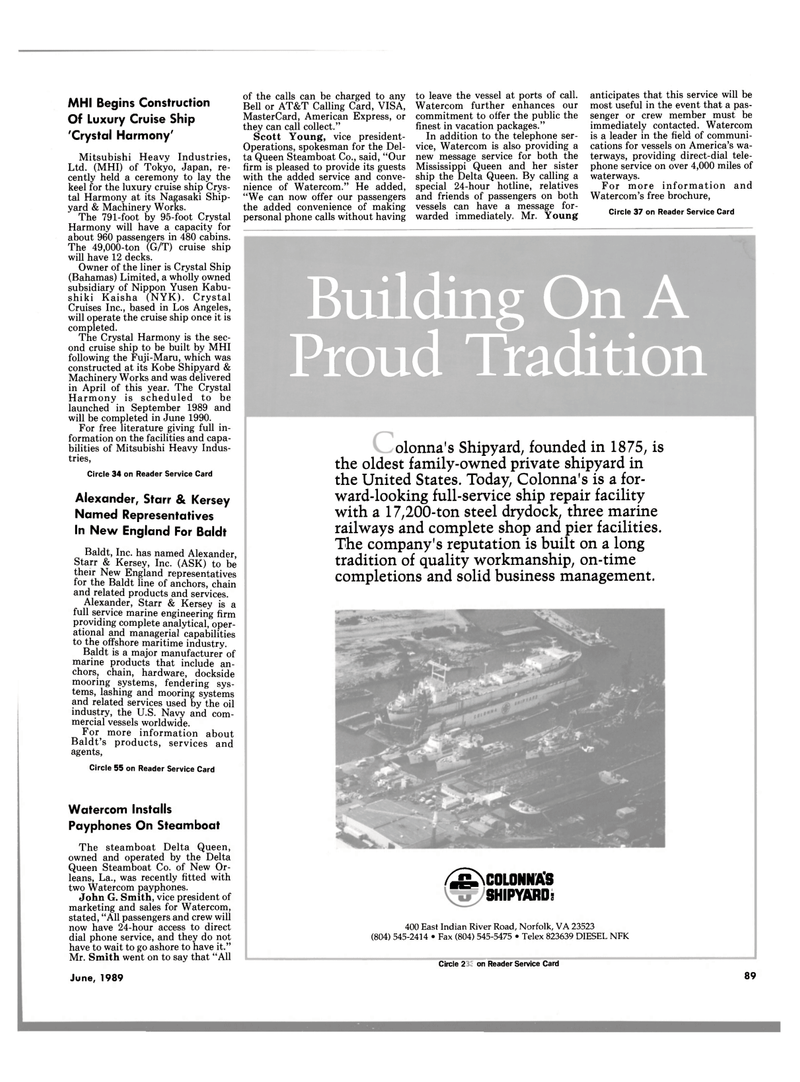 Maritime Reporter Magazine, page 85,  Jun 1989