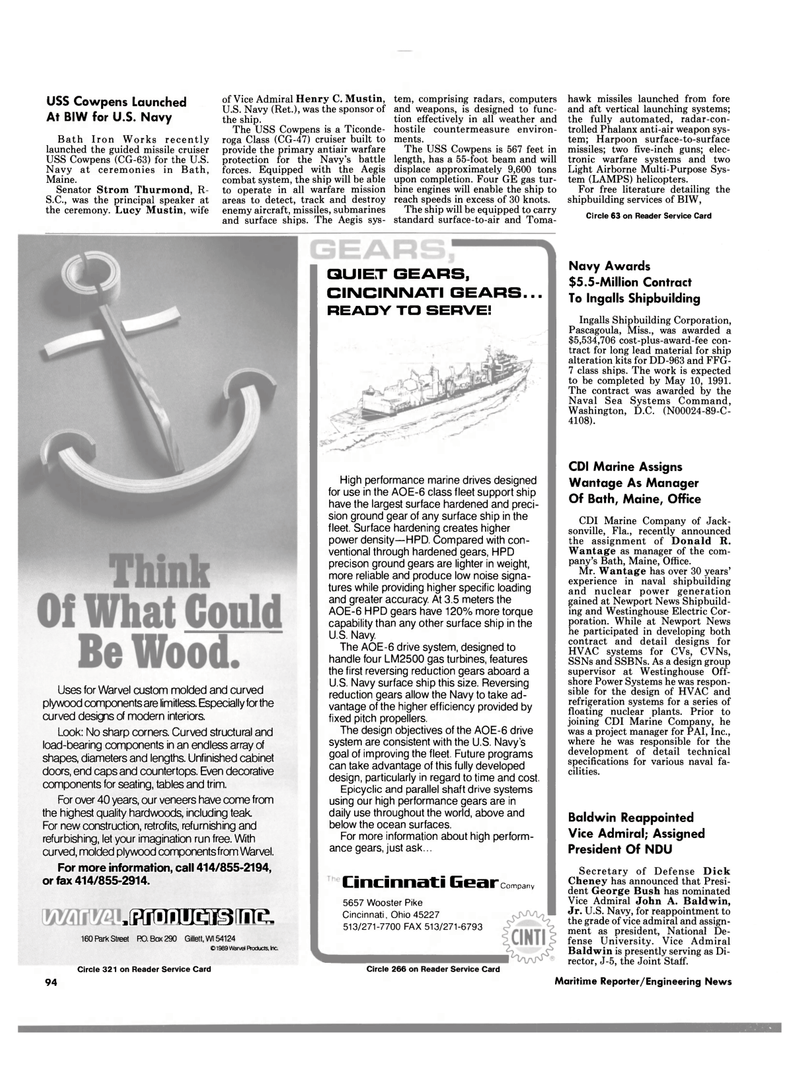Maritime Reporter Magazine, page 90,  Jun 1989