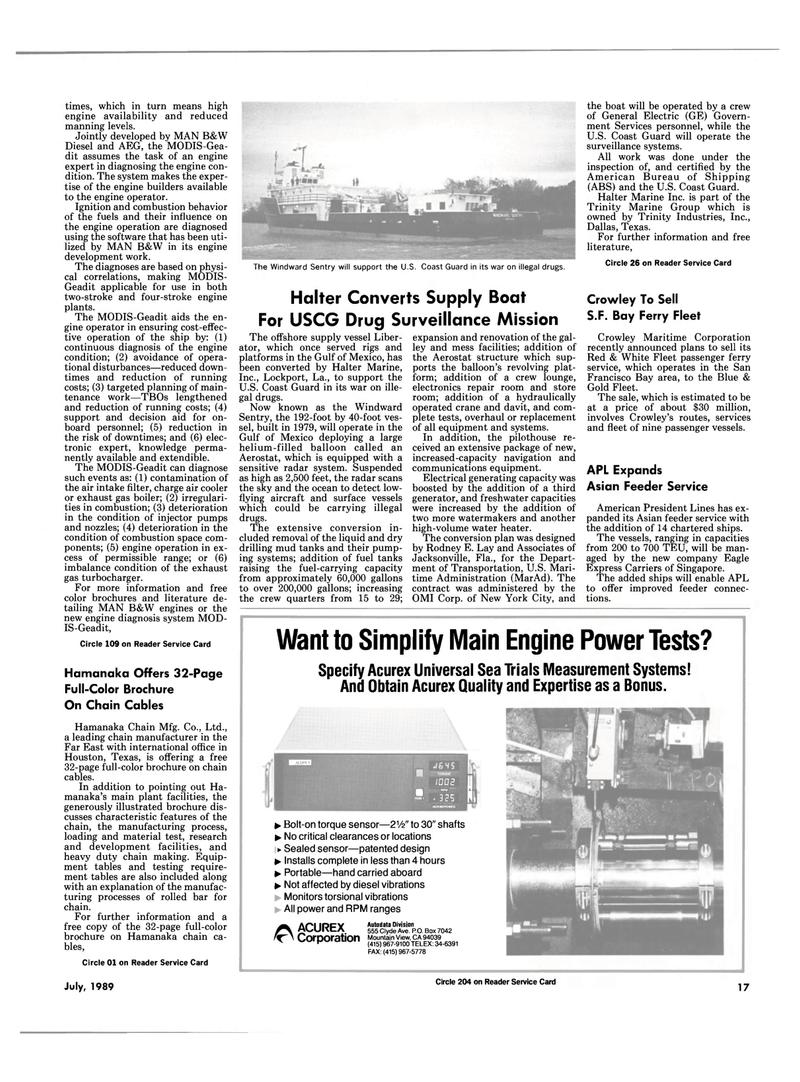 Maritime Reporter Magazine, page 15,  Jul 1989 Florida