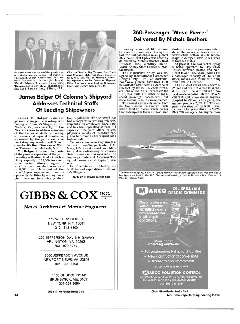 Maritime Reporter Magazine, page 42,  Jul 1989 New York