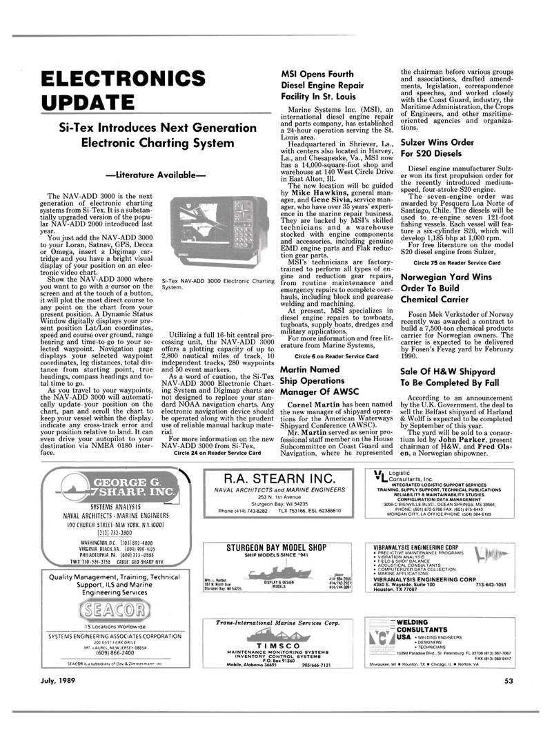 Maritime Reporter Magazine, page 49,  Jul 1989 Pennsylvania