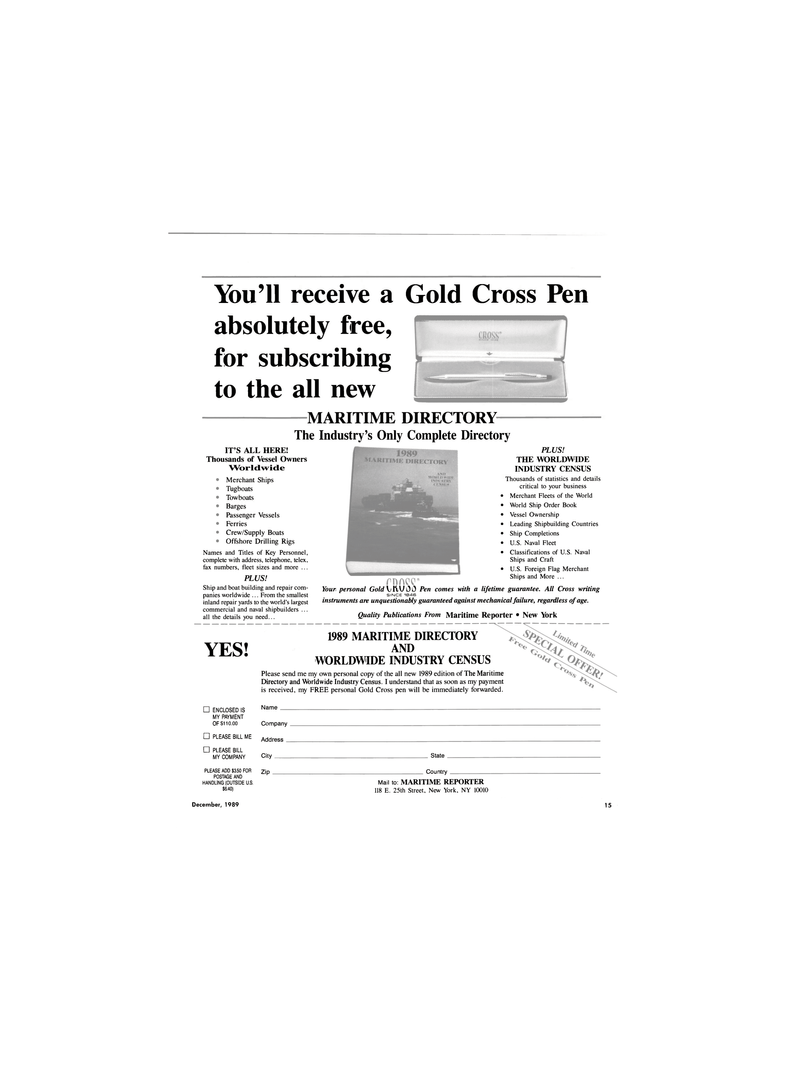 Maritime Reporter Magazine, page 13,  Dec 1989