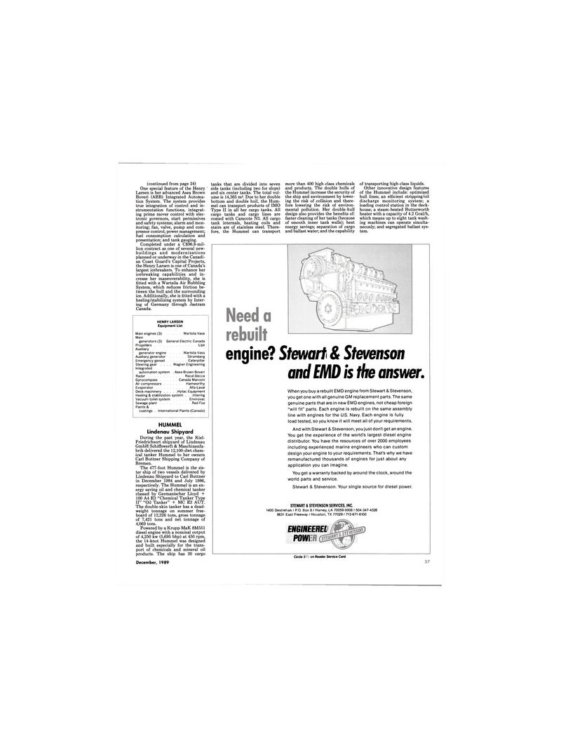 Maritime Reporter Magazine, page 35,  Dec 1989