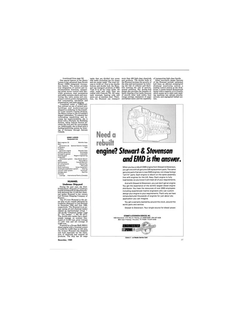 Maritime Reporter Magazine, page 37,  Dec 1989