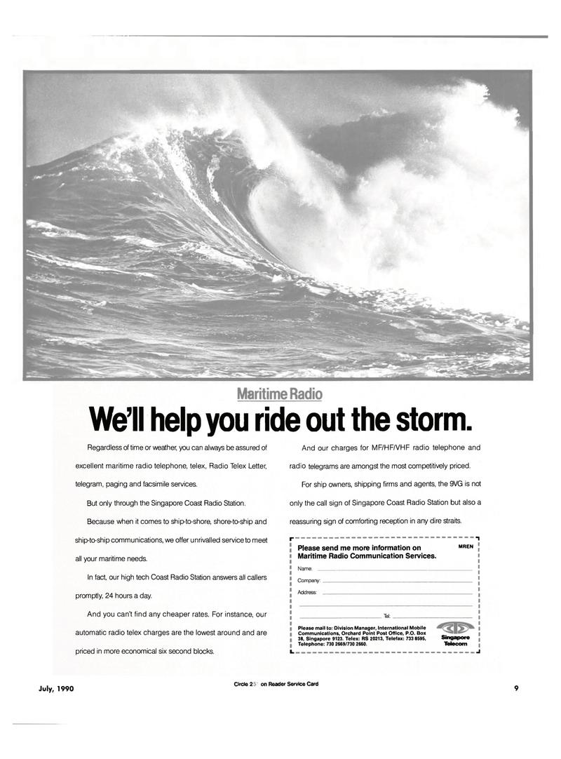 Maritime Reporter Magazine, page 7,  Jul 1990 ship-to-ship communications