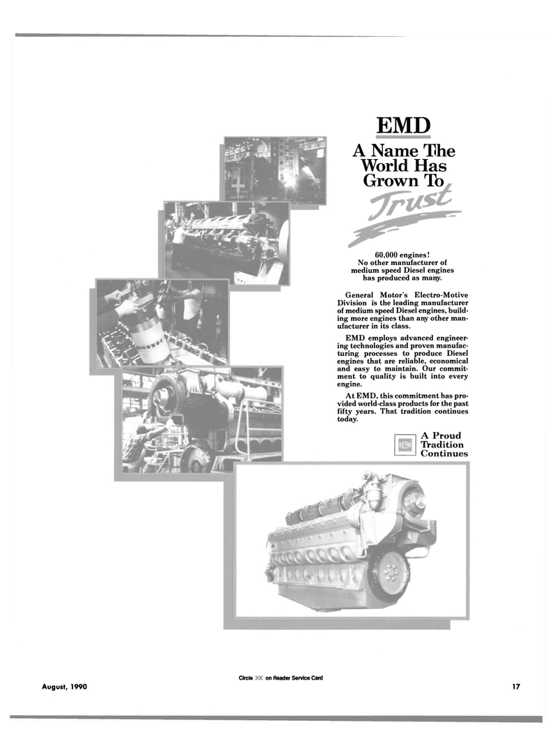 Maritime Reporter Magazine, page 15,  Aug 1990 Electro-Motive Division