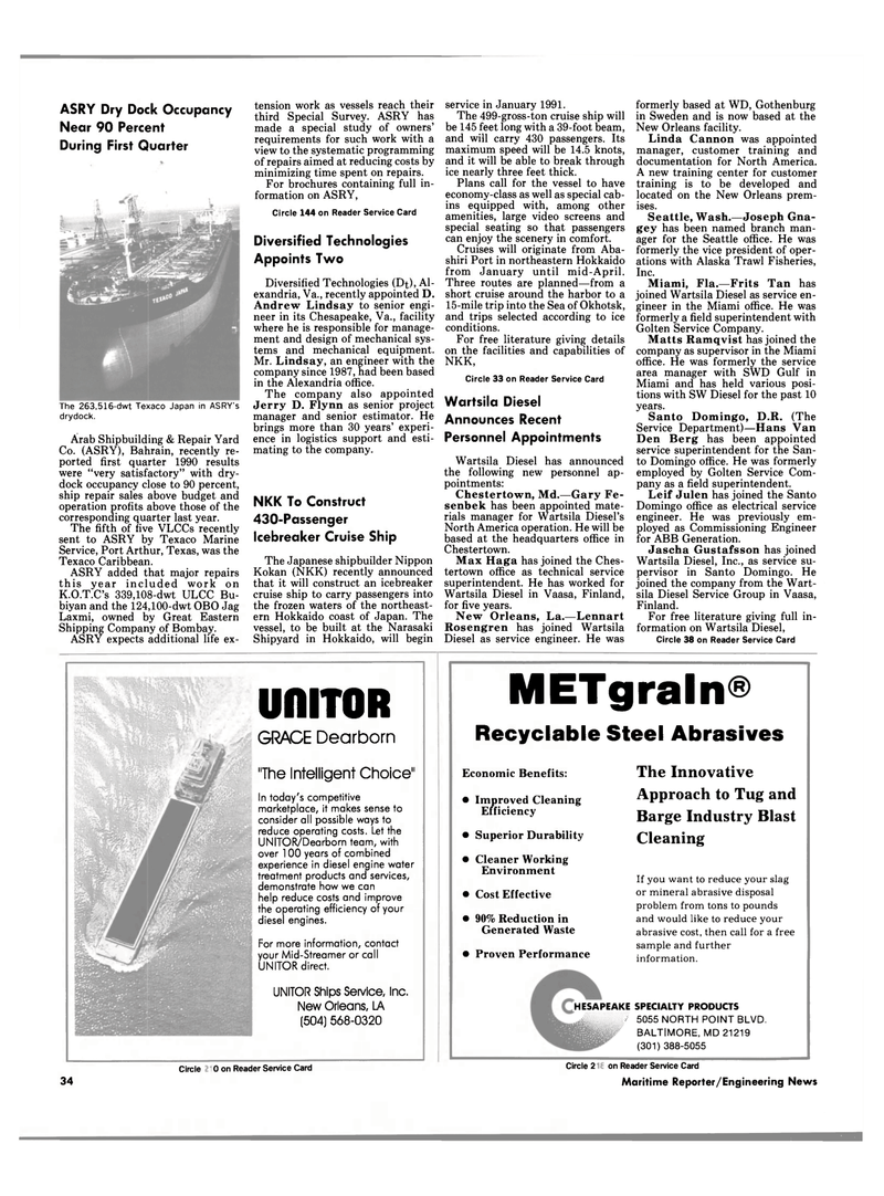 Maritime Reporter Magazine, page 34,  Aug 1990 Texas