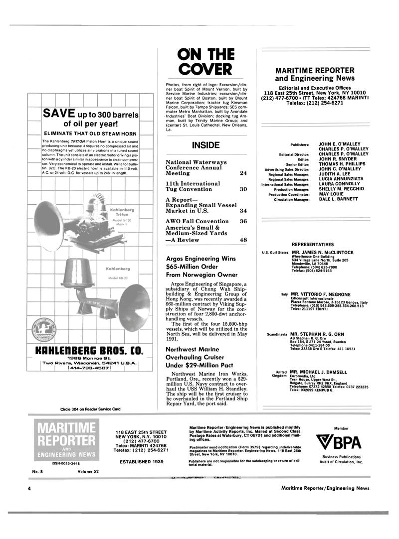 Maritime Reporter Magazine, page 2,  Aug 1990 L. BARNETT REPRESENTATIVES