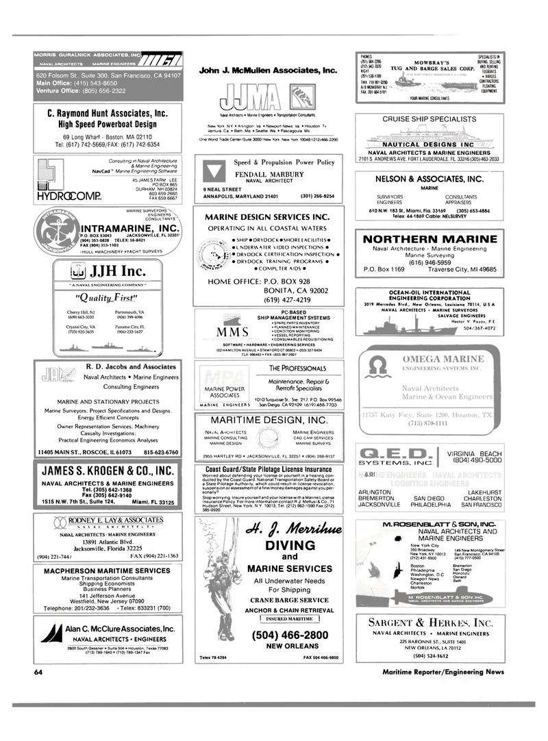 Maritime Reporter Magazine, page 62,  Aug 1990 Louisiana
