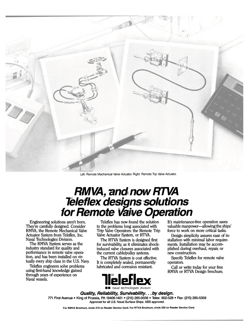 Maritime Reporter Magazine, page 11,  Sep 1990 cable/pulley systems