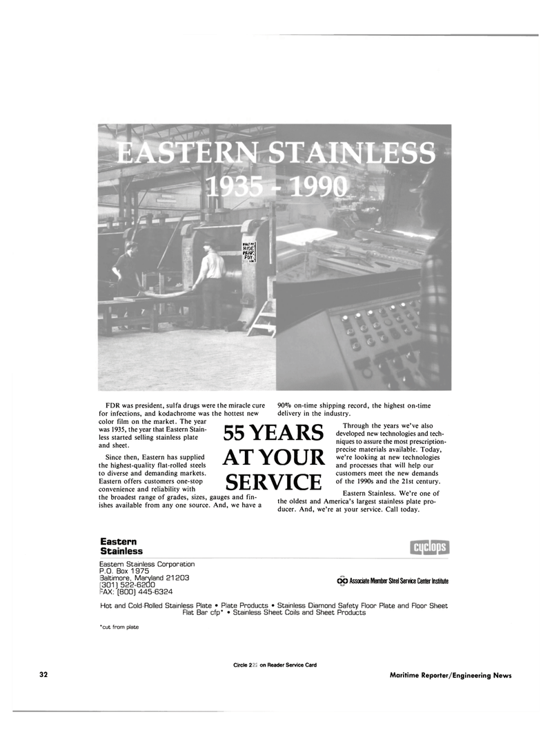 Maritime Reporter Magazine, page 30,  Sep 1990 GO Associate Member Steel Service Center Institute