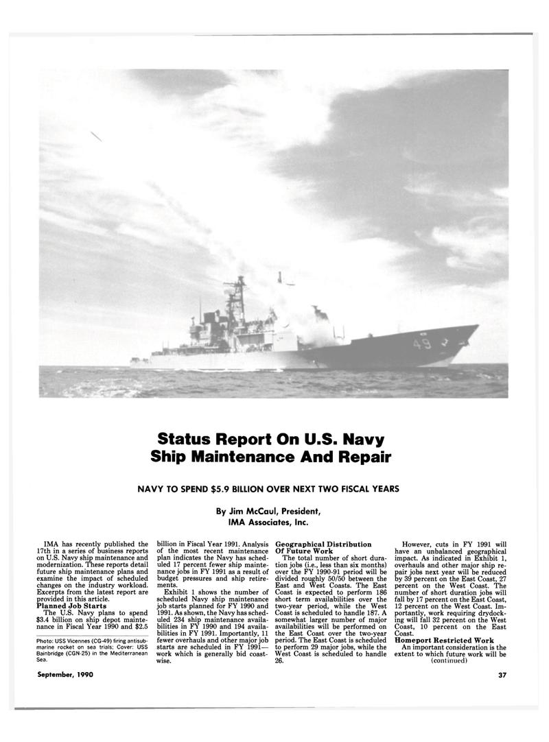 Maritime Reporter Magazine, page 35,  Sep 1990 Status Report On U.S. Navy