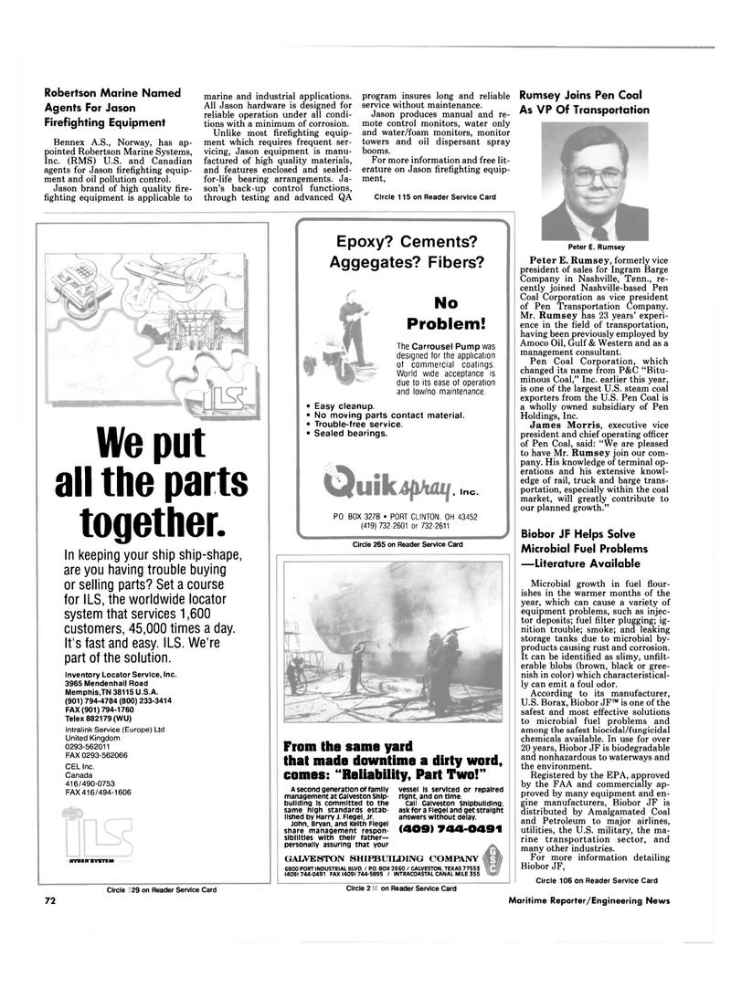 Maritime Reporter Magazine, page 70,  Sep 1990 Harry J. Flegel , jr.