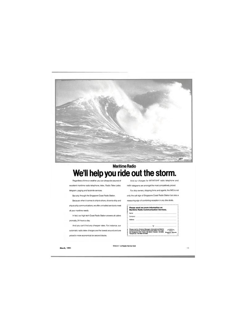 Maritime Reporter Magazine, page 12,  Mar 1991 ship-to-ship communications