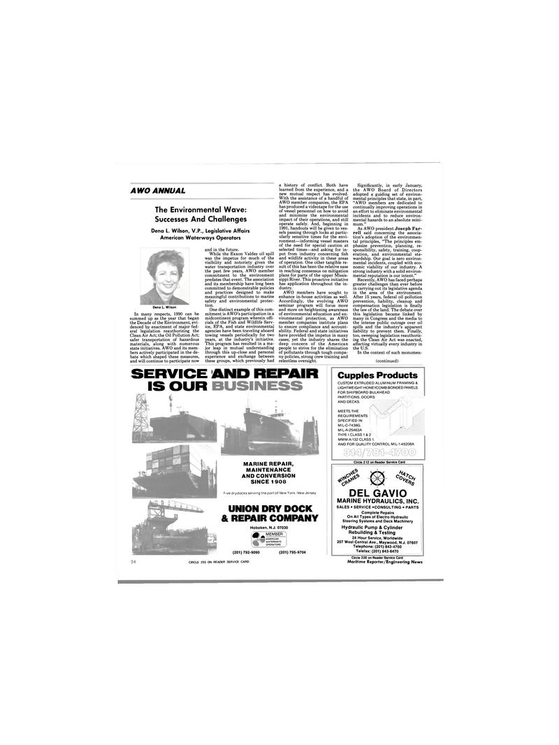 Maritime Reporter Magazine, page 23,  Mar 1991 Dena L. Wilson , V