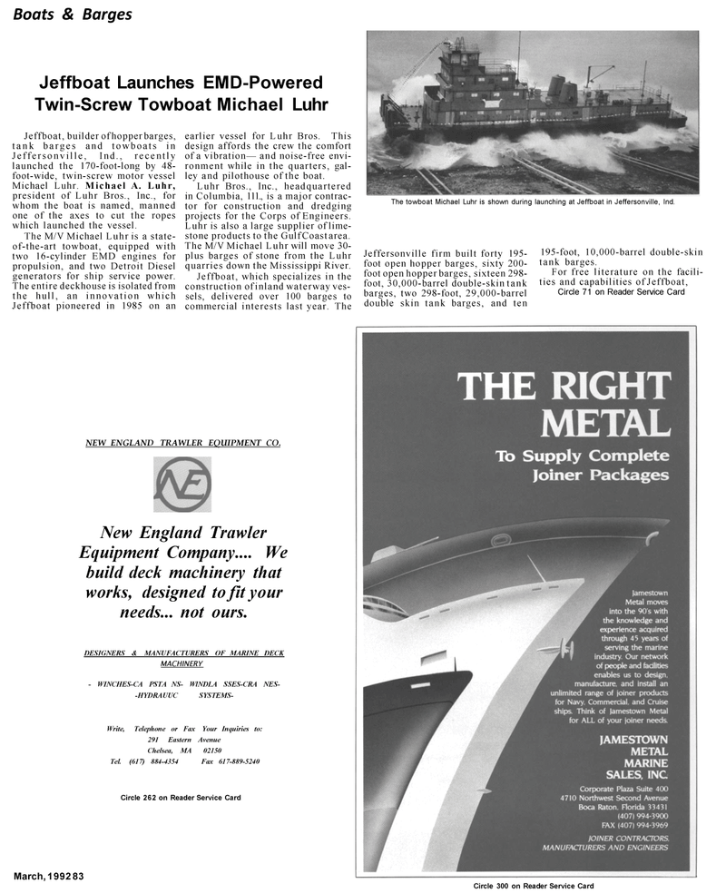 Maritime Reporter Magazine, page 4th Cover,  Mar 1992 Mississippi