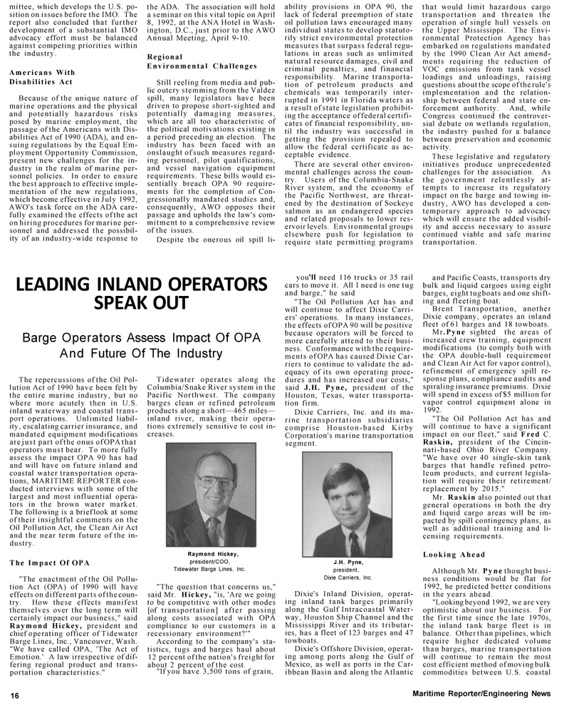 Maritime Reporter Magazine, page 14,  Mar 1992
