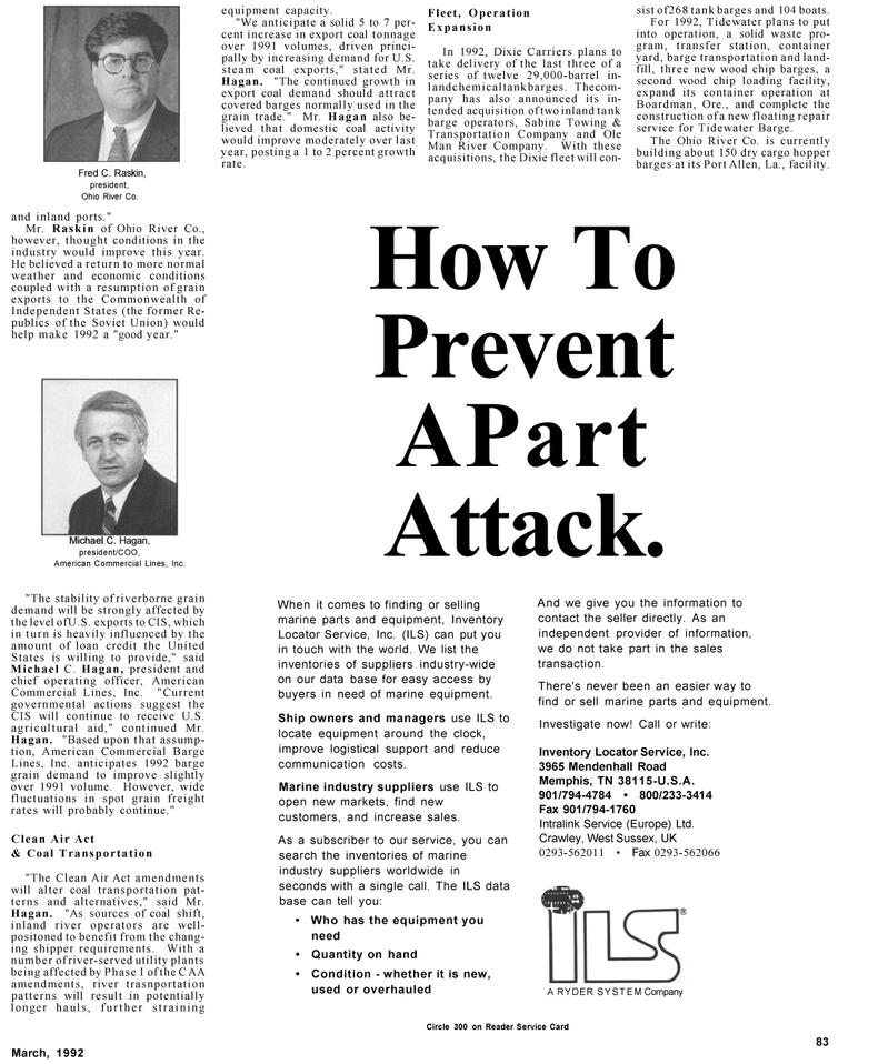 Maritime Reporter Magazine, page 15,  Mar 1992