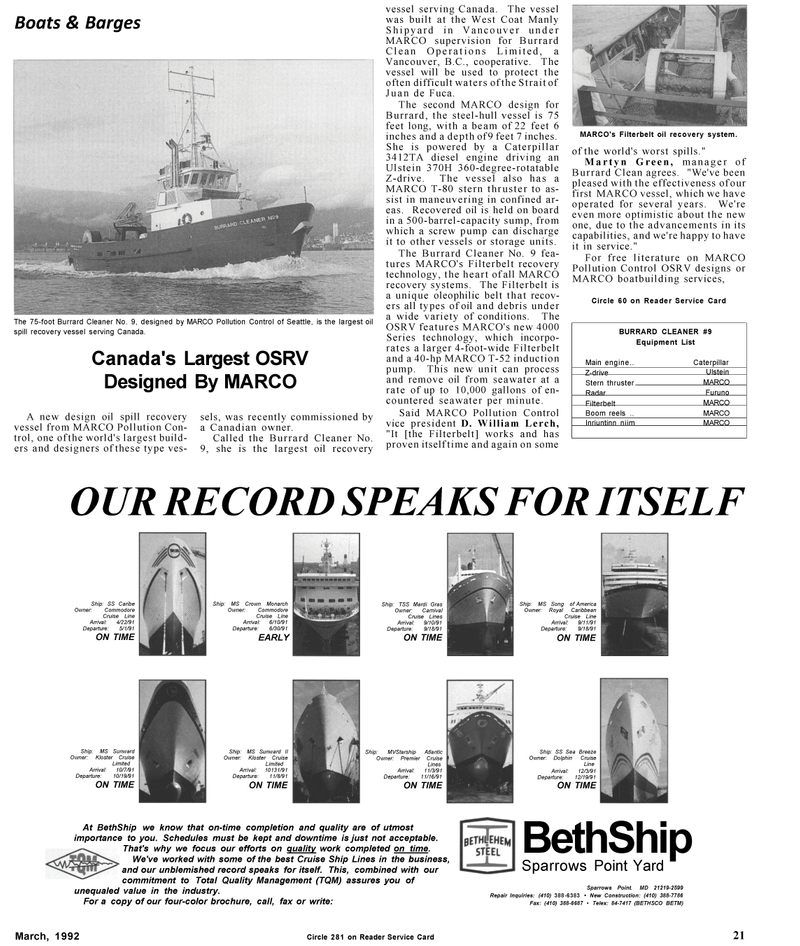 Maritime Reporter Magazine, page 19,  Mar 1992