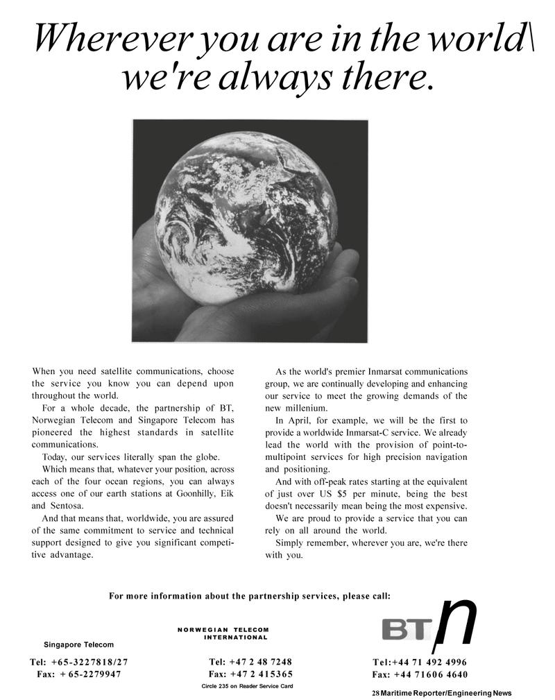 Maritime Reporter Magazine, page 26,  Mar 1992 Singapore Telecom