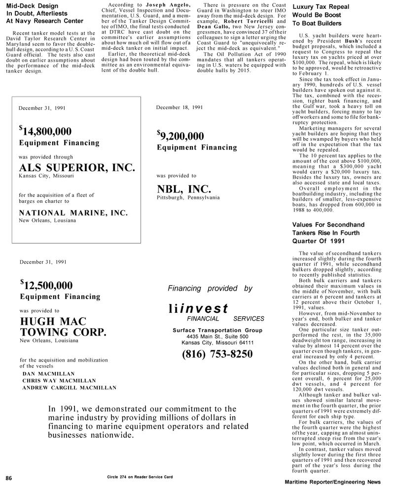 Maritime Reporter Magazine, page 30,  Mar 1992