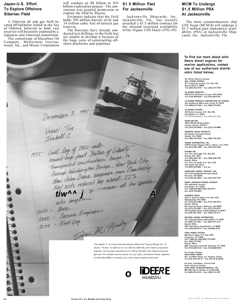 Maritime Reporter Magazine, page 32,  Mar 1992